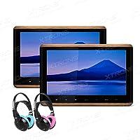 XTRONS 2 x 10.2 Inch Pair HD Digital TFT Screen Touch Panel HDMI Video Car Active Headrest DVD Player and Children IR Headphones(Blue&Pink)