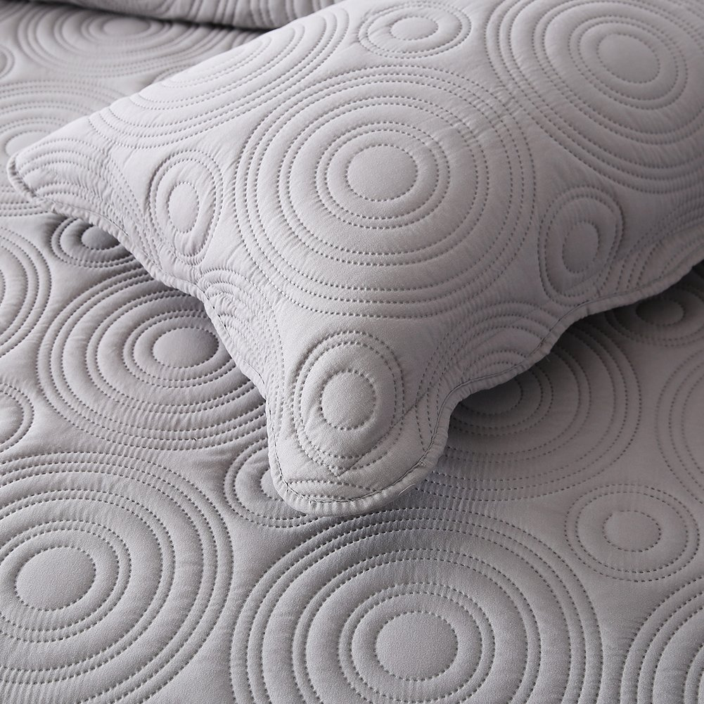 NEWLAKE Microfiber Lightweight 3 Piece Bedspread Coverlet Set,Embossed Wavelet Pattern, Queen Size by NEWLAKE (Image #7)