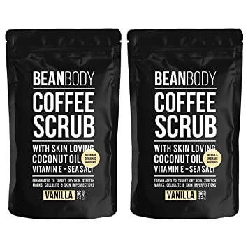 Mr. Bean Body Coffee Scrub Vanilla 220g Freeze 24-7 Ice Cream Double Scoop Intensive Anti-Aging Moisturizer 1.70 oz (Pack of 4)