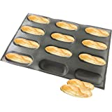 Bluedrop Silicone Baby Sandwich Forms Hot Dog Bread Molds Eclair Sheets Non Stick Bakery Trays Half Sub Roll Baking Sheets 12 Caves 6.5 Inch