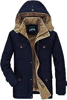 b9f24aada Mr.Stream Men's Winter Mid Length Hooded Jacket Casual Windbreaker Coat  Outerwear Warm Outdoor Parka