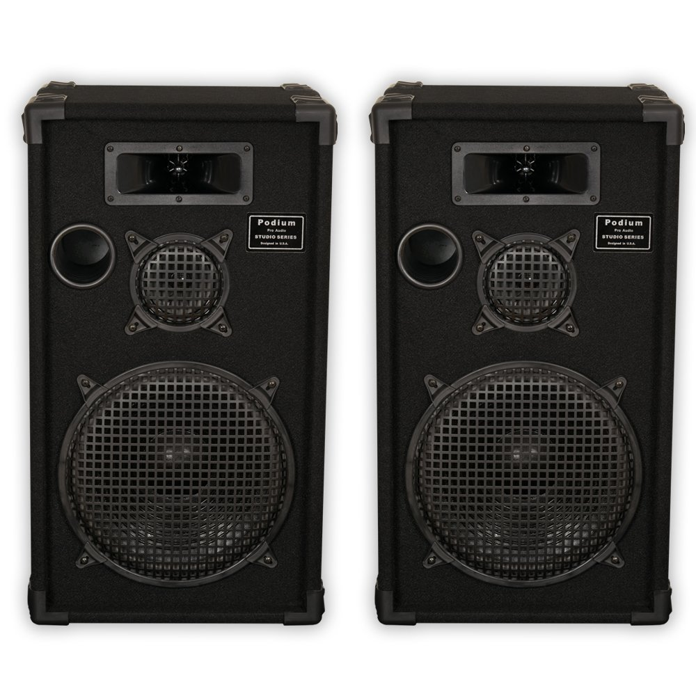 Podium Pro by Goldwood E1200C Passive Speakers 12'' Three Way Pair PA DJ Home Karaoke by Podium Pro by Goldwood