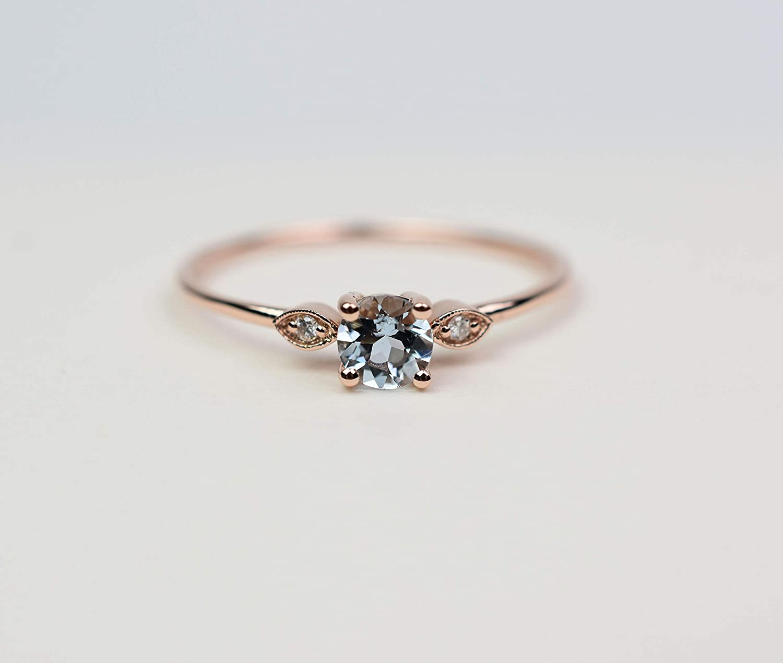 14K Gold Aquamarine Rings March Birthstone Rings 14K Custom Birthstone Rings 14K Solid Gold Gemstone Rings Custom Birthstone Jewelry