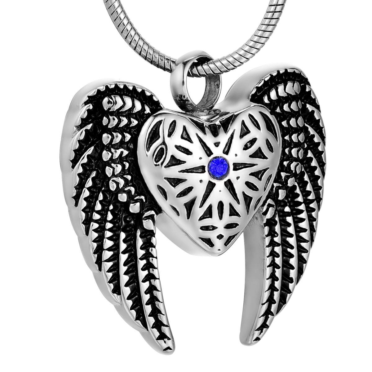 Coco Park Stainless Steel Angel Wing Ash Pendant Cremation Jewelry Urn Necklace Keepsake Blue Diamond COCO Park SC0073-L