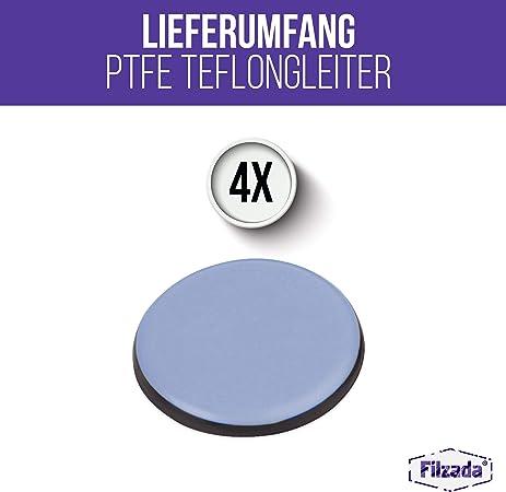 - Deslizadores profesionales de muebles//deslizadores de alfombras PTFE Tefl/ón Filzada/® 4x Almohadillas de Tefl/ón para Muebles autoadhesivo redondo /Ø 25 mm