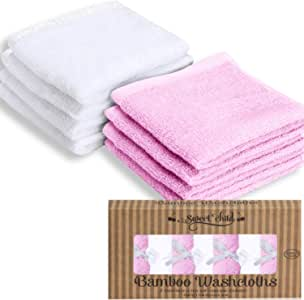 """SWEET CHILD Bamboo Baby Washcloths (Bonus 8-Pack) - Premium Extra Soft & Absorbent Towels for Baby's Sensitive Skin-Perfect 10""""x10""""-Excellent Baby Shower/Registry Gift (10""""x10"""", Pink)"""