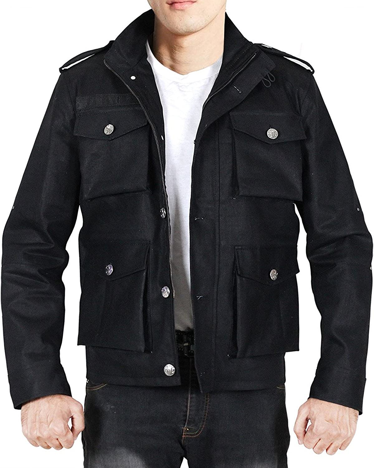 Commando Style Multiple Pockets Black Cotton Jackets for Men