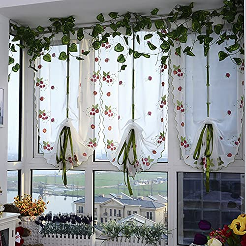 ChezMax Rod Pocket Adjustable Tie-up Drape Panels Voile Embroidered Roman Sheer Curtains 31″ W x 70″ L 2 Panels
