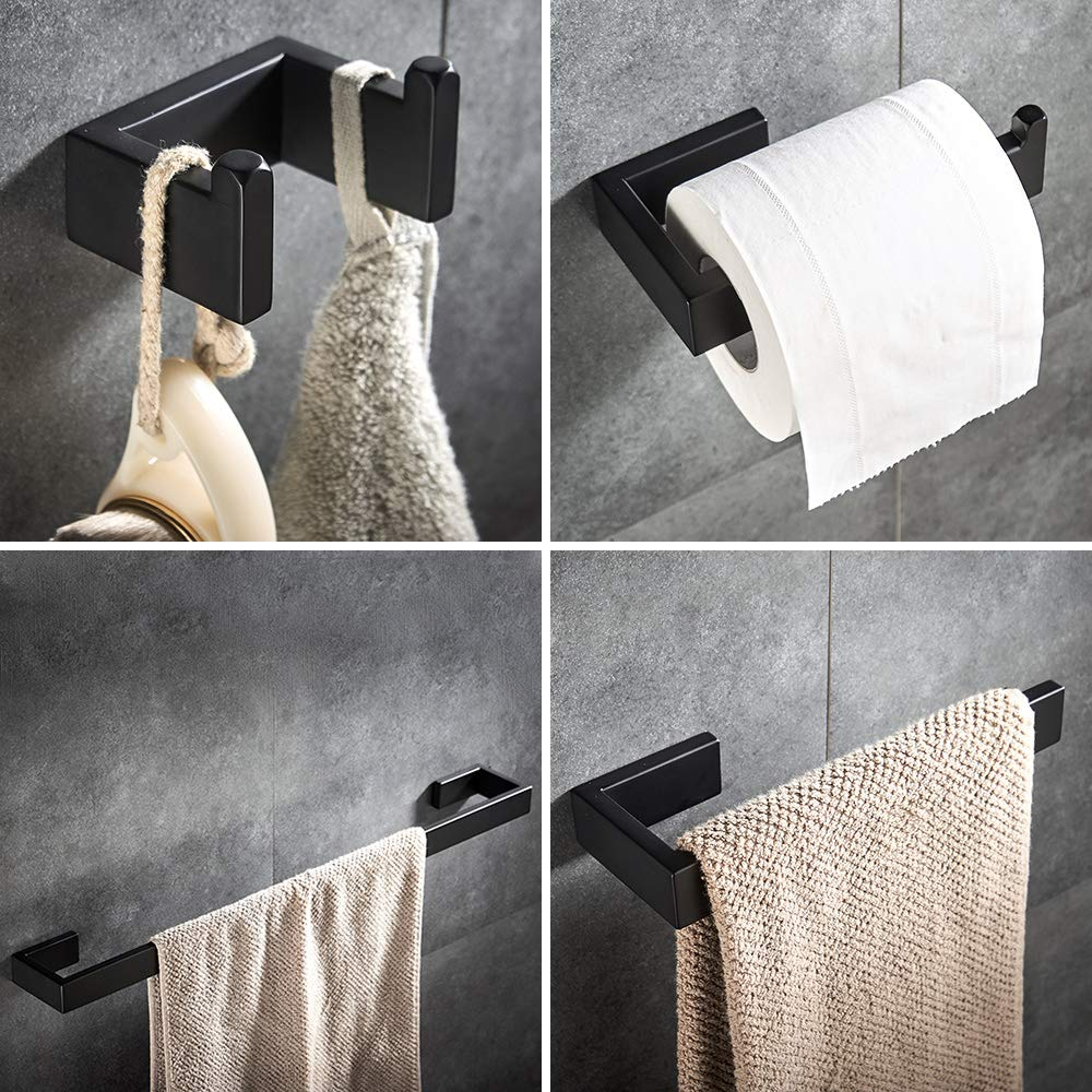 4 piece Bathroom Hardware Set Matte Black Stainless Steel Towel Bar Wall Mounted Bathroom Accessories by YJ YANJUN (Image #1)