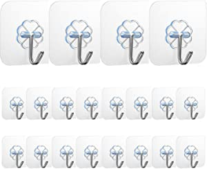 Adhesive Wall Hooks(22 lb MAX)Heavy Duty Wall Hangers Without Nails 180 Degree Rotating Seamless Scratch Hooks for Hanging Bathroom Kitchen Office Door Home Improvement Sticky Hooks - 12 Pack