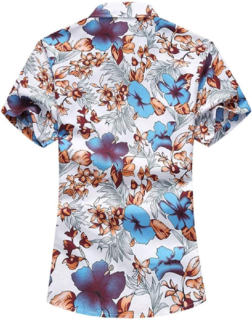 Wofupowga Mens Short Sleeve Turn Down Print Button Front Shirts