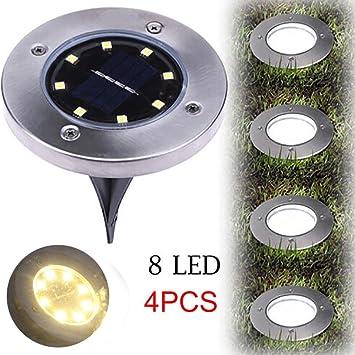 4pcs LED Solarleuchte Solar Leuchten Edelstahl Solarlampe Gartenleuchten Garten