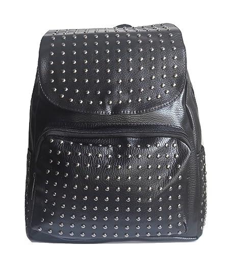 13b8b09457 zaino zainetto nero ecopelle simil pelle borchie borchiato metallo zaini  zainetti borsa backpack vintage casual moda