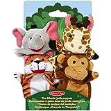 Melissa & Doug 19081 Zoo Friends Hand Puppets (Set of 4) - Elephant, Giraffe, Tiger, and Monkey, Multicolor