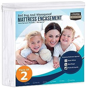 Utopia Bedding Zippered Mattress Encasement - Bed Bug Proof (Pack of 2, Twin)
