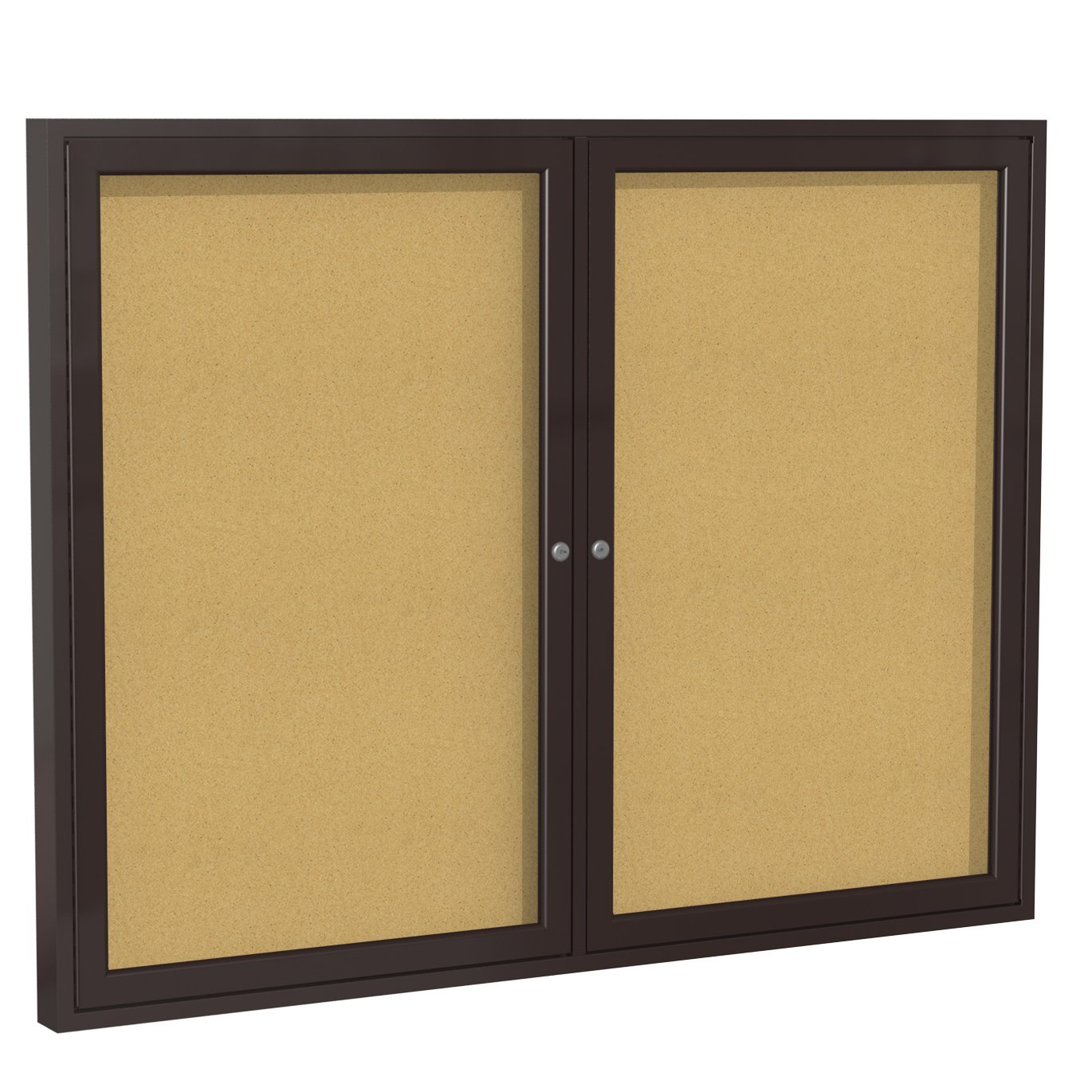 Ghent 36''x48''   2-Door indoor Enclosed Bulletin Board , Shatter Resistant, with Lock, Bronze Aluminum Frame  - Natural Cork (PB23648K)  Made in the USA