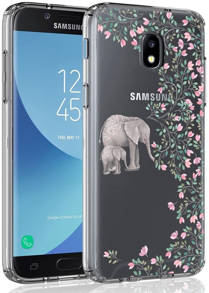 Case for Samsung Galaxy J3 2018/J3 V 2018/J3 Achieve/Express Prime 3/Amp Prime 3/J3 Eclipse 2/J3 Prime 2/J3 Star/J3 Orbit/Sol 3/J3 Aura/J3 Emerge 2018, SYONER Ultra Slim Clear Phone Case [Elephant]