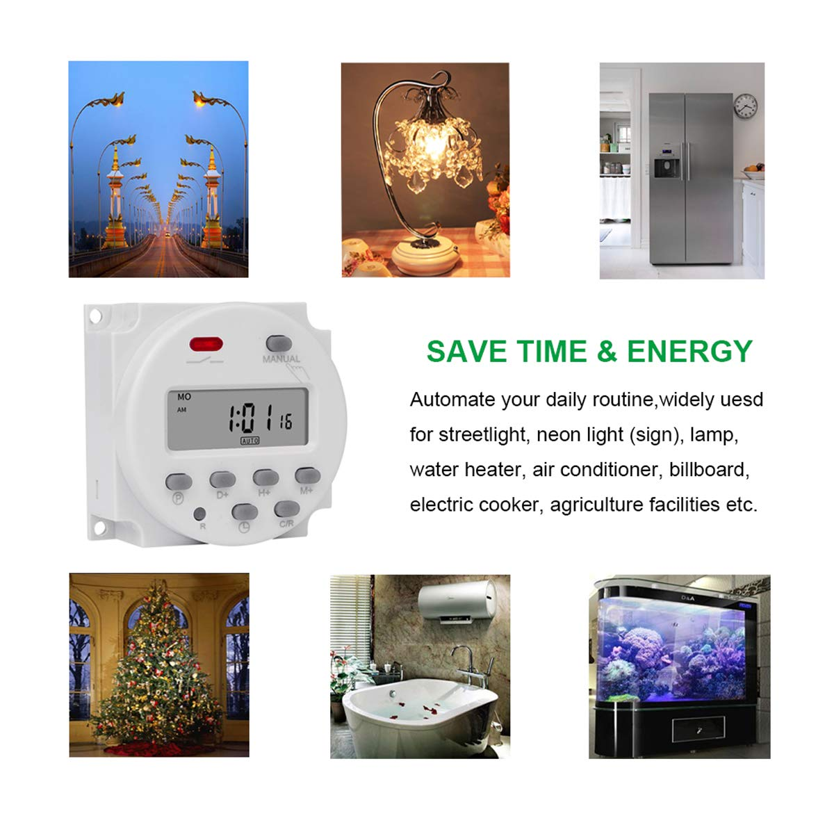 12V//220V Digital LCD Display Power Timer 7Days Programmable Time Relay Switch