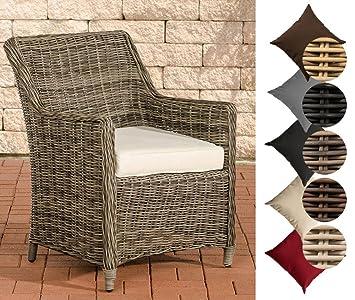 CLP Polyrattan Sessel SANDNES Inklusive Sitzkissen I Robuster Gartenstuhl  Mit Einem Untergestell Aus Aluminium Rattan