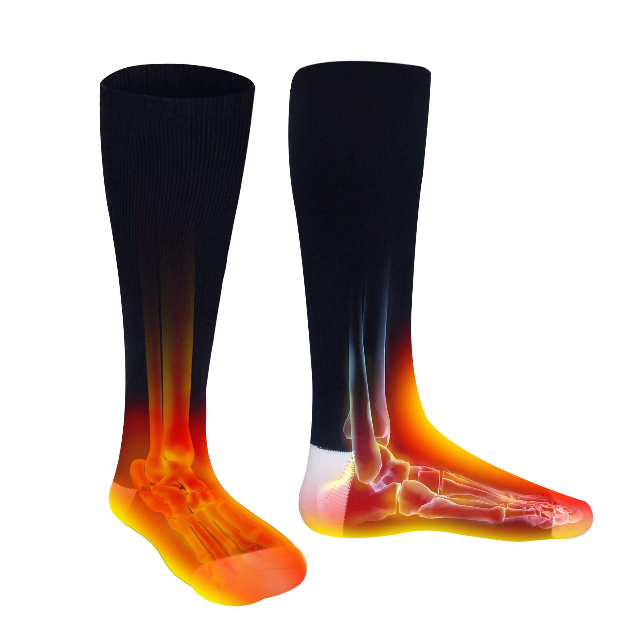 Men Women Socks Electric Socks Heated Socks for Chronically Cold Feet, Rechargeable Batteries Socks Hiking Socks Skiing Socks Socks (Dark Blue) by Highting