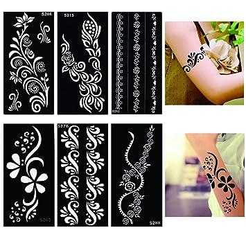 6 patrones para tatuajes de henna: Amazon.es: Belleza
