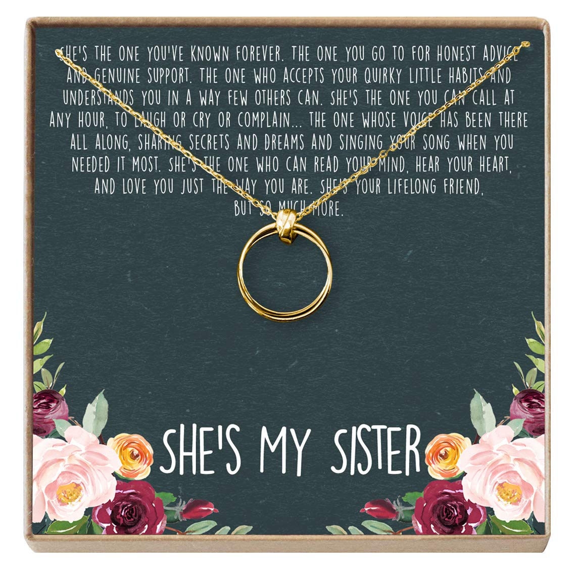 Amazon Dear Ava Sisters Necklace Sister Gift For Birthday Giggles 2 Linked Circles Gold Plated Brass NA Jewelry