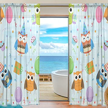ABLINK Anime Cute Owl Fabric Sheer Decor Voile Tulle Window Door Curtains  For Bedroom Living Room