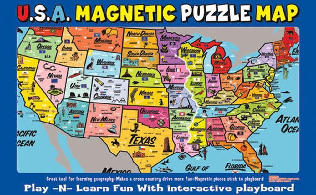 magnetic united states map Amazon.com: Ata Boy Magnetic USA Map Play n Learn United States