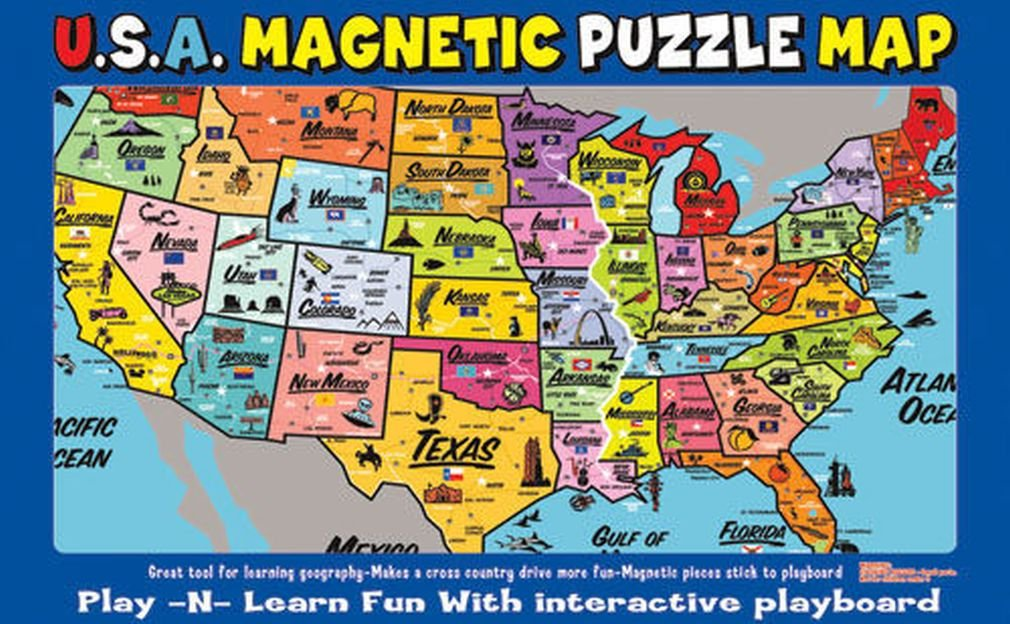 Ata-Boy Magnetic USA Map Play-n-Learn Puzzle Board Review