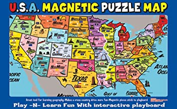 AtaBoy Magnetic USA Map PlaynLearn Puzzle Board Magnet Felt