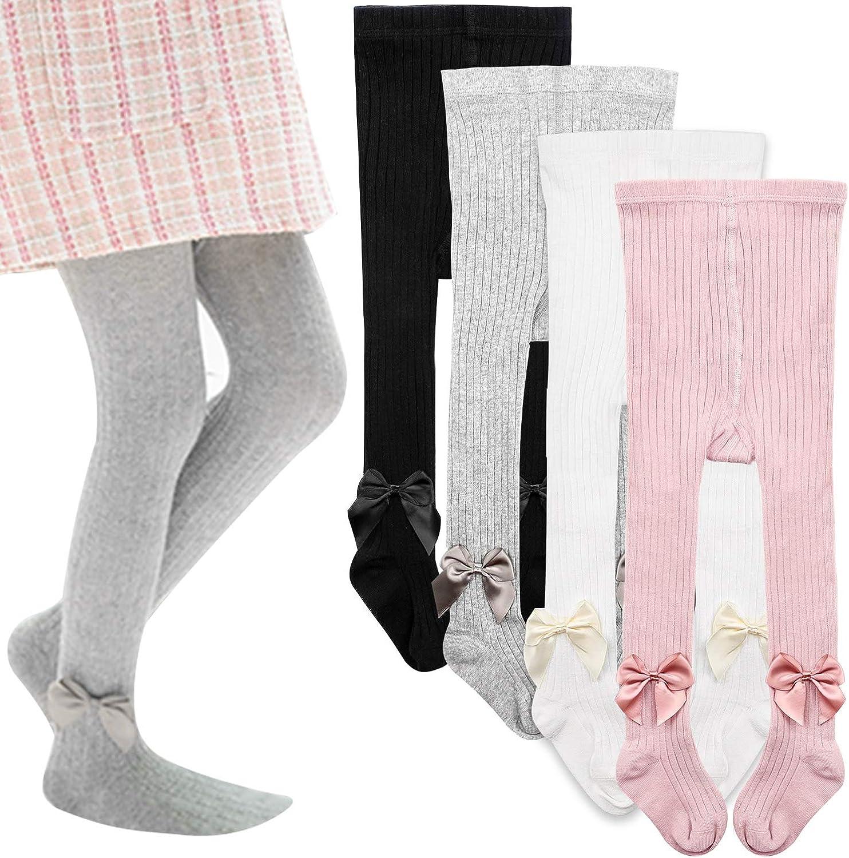 Kaariss 3 Pairs Infant Baby Toddler Girls Tights Toddler Knit Cotton Leggings