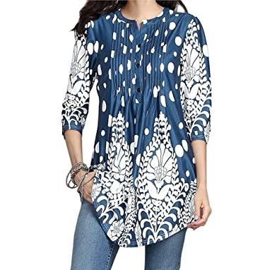 672e40b0e92 Amazon.com: Women Tops, 2019 Fashion Womens Casual Floral Print Shirts 3/4  Sleeves O-Neck Tunic Blouse Tops Loose T-Shirt: Clothing