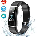 Fitness Tracker HR, ZAOYI Heart Rate Monitoring Activity Tracker Bluetooth Smart Bracelet Band Health Tracker Pedometer with Sleep Monitor Step counter Calorie Burned Sedentary Reminder IP67 Waterproof Smart Watch for iPhone Samsung & Other Android or iOS Smartphones for Kids Women Men