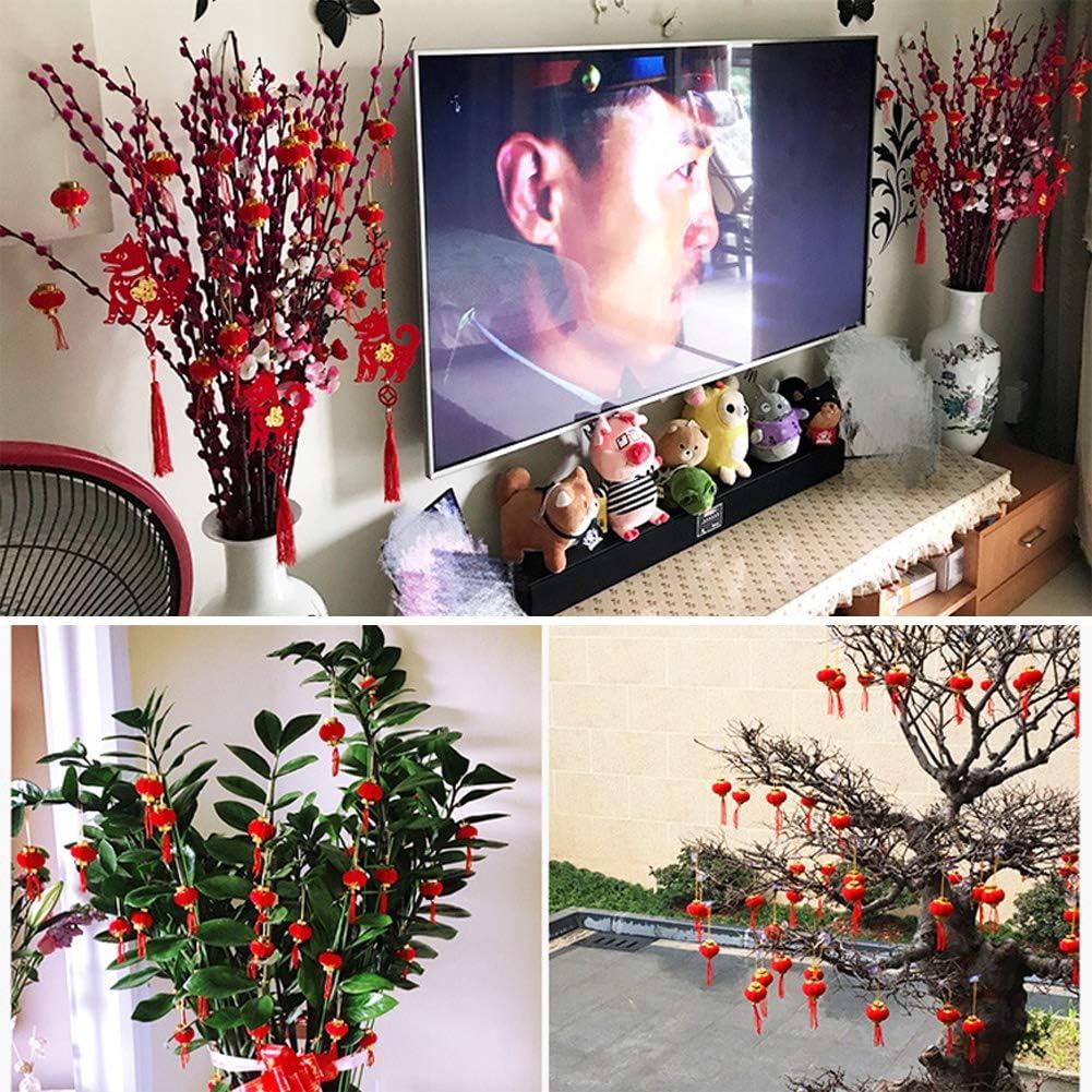 darbre WSDF Lot de 30 Mini lanternes Chinoises avec pendentifs pour d/écoration de Printemps de Maison de Jardin Taille Unique Red