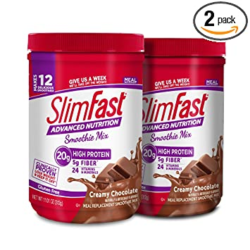 slim fast advanced nutrition high protein smoothie powder creamy chocolate 11 01 oz canister