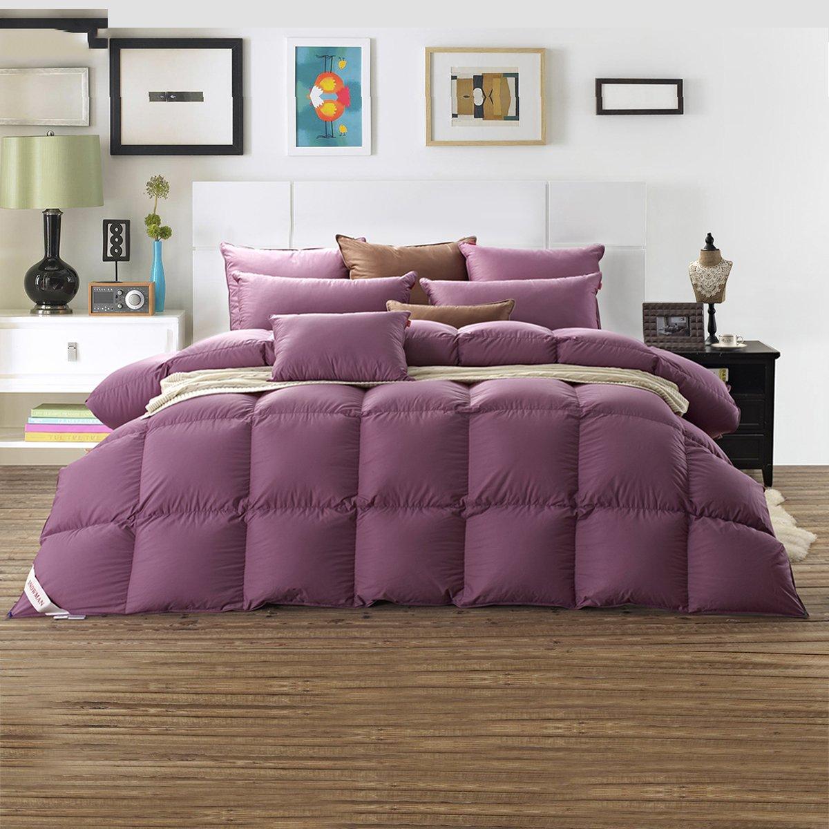 SNOWMAN Bedding Queen Size Goose Down Comforter,Baffle Box Construction,55oz,Purple