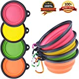 PetBonus 4-Pack Silicone Collapsible Dog Bowls, BPA Free and Dishwasher Safe, Portable and Foldable Travel Bowl, For Dog & Cat Bowls-With 4-Color Carabiners Per Set