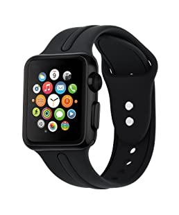YOUMANY Compatible with Silicone Apple Watch Strap 38mm 40mm,Silicone Strap Replacement for iwatch Series 4/Series 3/Series 2/Series 1 Black