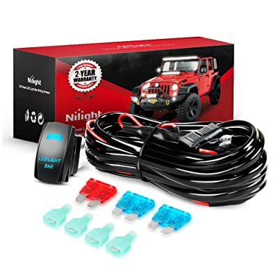 Nilight 10011W 16AWG Wiring Harness Kit-2 Leads LED Light Bar 12V On/Off 5 Pin Rocker Switch Power Relay Blade Fuse for Jeep Boat Trucks, 2 Years Warranty: Automotive