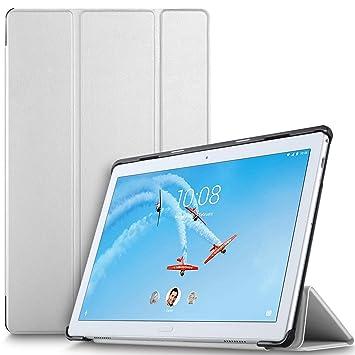 IVSO Funda Carcasa para Lenovo Tab P10, Slim PU Protectora Carcasa Cover para Lenovo Tab P10 10.1 Pulgadas, Blanco