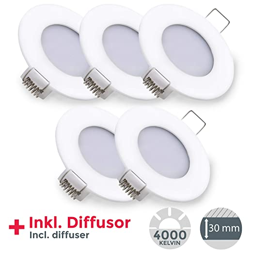 LED Einbauleuchte ultra flach Ø85mm weiß inkl. 5 X 5W 460lm LED-Platinen 4000K IP23 LED Einbaustrahler