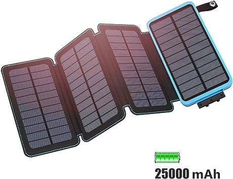 FEELLE Cargador Solar 25000mAh Batería Externa, Portátil Power Bank con 4 Paneles Solares, 2 Puertos de USB (5V/2.1A*2) para iPhone, Android, Tablet, Cámara, y Otros Dispositivos: Amazon.es: Electrónica