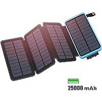 FEELLE Solar Powerbank 25000mAh Wasserdicht Solar Ladegerät mit 2 USB 2.1A und LED-Licht Tragbar Power Bank Battery Pack für Das iPhone, iPad, Samsung Galaxy, Smartphones/Handys