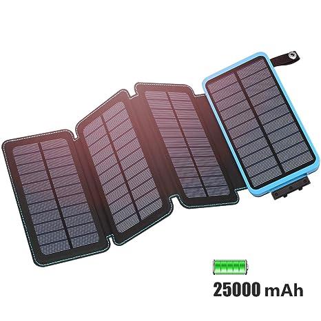 FEELLE Cargador Solar 25000mAh Batería Externa, Portátil Power Bank con 4 Paneles Solares, 2