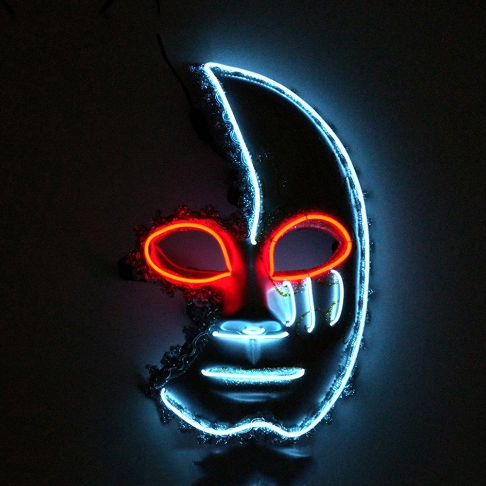Face mask Shield Veil Guard Screen Domino False Front Rave Party Glowing mask Half face Crescent Moon Dance mask red and White