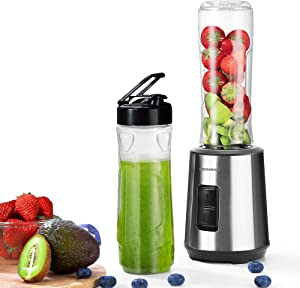 Personal Blender, REDMOND Countertop Smoothie Blender, 300W Single Serve Blender Stainless Steel with 2 Speeds, 6 Blades, 2 x 20oz Travel Bottles for Shakes and Smoothie