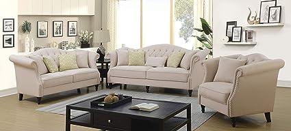 Amazon.com: Esofastore Transitional Design Beige Color Linen ...