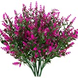 KLEMOO Artificial Lavender Flowers Plants 6 Pieces, Lifelike UV Resistant Fake Shrubs Greenery Bushes Bouquet to Brighten up