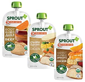Sprout Organic Baby Food Pouches Stage 3, Root Veg Apple w/ Beef, Creamy Veg w/ Chicken, & Harvest Veg Apricots w/ Chicken Variety Pack, 4 Ounce Pouches (4 Each)