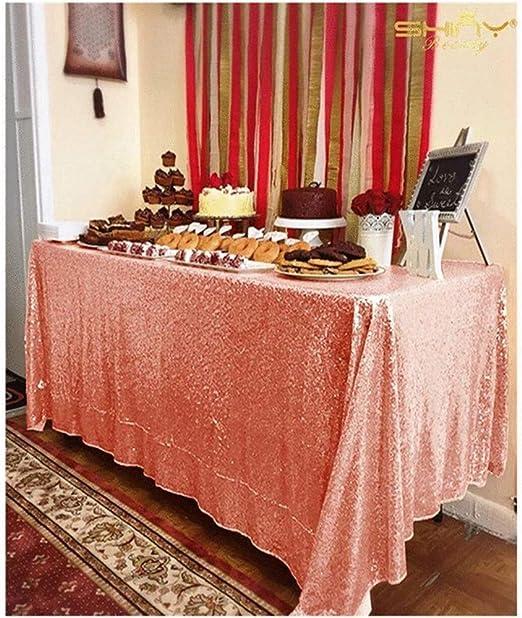 RuiHuang - Mantel de Lentejuelas de Oro Rosa para decoración de ...